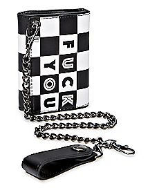 Checkered Fuck You Chain Wallet