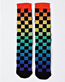 Checkered Rainbow Crew Socks