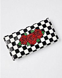 Checkered Rose Snap Wallet