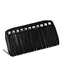 Stud Fringe Zip Wallet