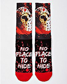 Jason Voorhees No Place to Hide Crew Socks - Friday the 13th