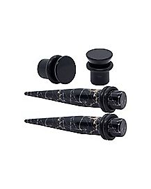 Black Marble Effect Tapers and Plugs - 2 Pair