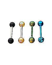 Multi-Pack CZ Colored Barbells 4 Pack - 14 Gauge