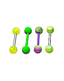 Multi-Pack Purple and Yellow Barbells 4 Pack - 14 Gauge