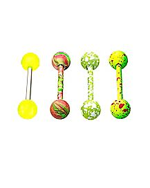 Multi-Pack Green Splatter Barbells 4 Pack - 14 Gauge