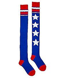 USA Stars Over The Knee Socks