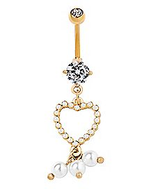 Goldtone CZ Pearl Heart Dangle Belly Ring - 14 Gauge