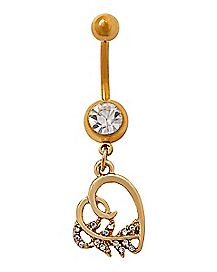 Goldtone CZ Heart Dangle Belly Ring - 14 Gauge