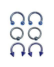 Blue and Purple Captive Horseshoe Rings 3 Pairs - 14 Gauge