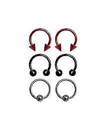 Multi-Pack Plated Horseshoe and Captive Rings 3 Pair - 16 Gauge