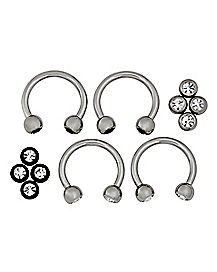 Multi-Pack Horseshoe Rings with CZ Balls 2 Pair - 16 Gauge