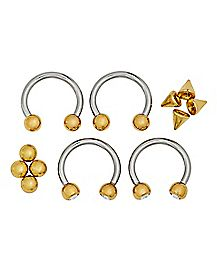 Multi-Pack Goldtone Horseshoe Rings with Extra Balls 2 Pair - 16 Gauge