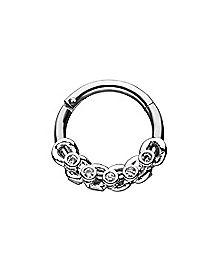 CZ Chain Hinge Septum Ring - 16 Gauge