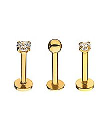 Multi-Pack Goldplated CZ Labret Lip Rings 3 Pack - 16 Gauge