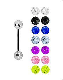 Multi-Pack Glitter Barbells with Extra Balls - 14 Gauge