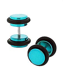 Teal Metallic Fake Plugs - 16 Gauge