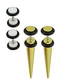 Multi-Pack Goldtone Fake Tapers and Fake Plugs 2 Pair - 16 Gauge