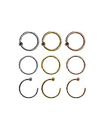 Multi-Pack Plated CZ Hoop Nose Rings 9 Pack - 18 Gauge