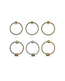 Multi-Pack Twisted Hoop Nose Rings 6 Pack - 20 Gauge