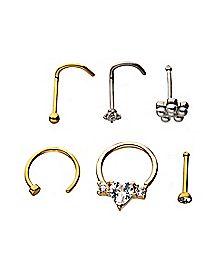 Multi-Pack Goldtone CZ Nose Rings 6 Pack - 20 Gauge