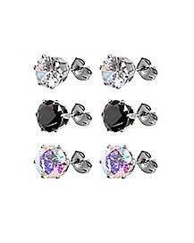 AB and Black CZ Stud Earrings - 3 Pair