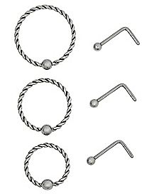 Multi-Pack Twisted Hoop Nose Rings and L Bend Nose Rings 6 Pack - 20 Gauge