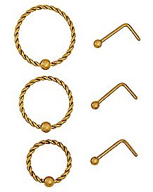 Multi-Pack Goldtone Twisted Hoop Nose Rings and L Bend Nose Rings 6 Pack - 20 Gauge