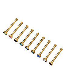 Multi-Pack Goldplated CZ Bone Nose Rings 9 Pack - 20 Gauge