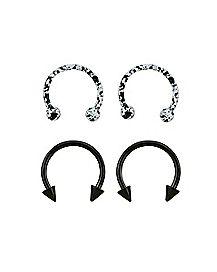 Multi-Pack Speckled Horseshoe Rings 2 Pair - 16 Gauge
