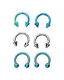 Multi-Pack Blue Spiked Horseshoe Rings 3 Pair - 16 Gauge