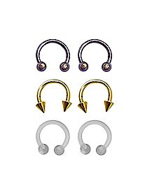 Multi-Pack CZ Ombre Horseshoe Rings 3 Pair - 14 Gauge