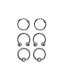 Multi-Pack Horseshoe and Captive Rings 3 Pair - 16 Gauge