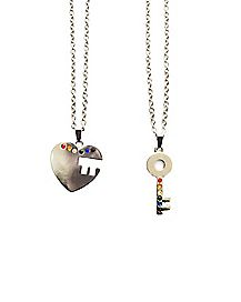 CZ Rainbow Key and Heart Best Friend Necklaces - 2 Pack