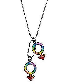 Double Male Rainbow Pride Necklace