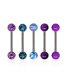 Multi-Pack Splatter Purple Barbells 5 Pack - 14 Gauge