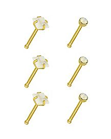 Multi-Pack Goldtone Round and Square Bone Nose Rings 6 Pack - 20 Gauge