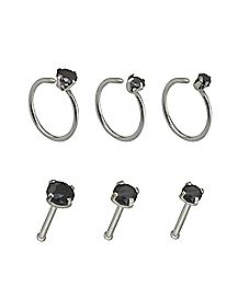 Multi-Pack CZ Hoop Nose Rings and Bone Nose Rings 6 Pack - 20 Gauge