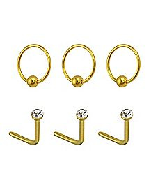 Multi-Pack Goldtone CZ Hoop Nose Rings and L Bend Nose Rings 6 Pack - 20 Gauge