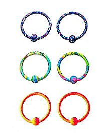 Multi-Pack Splatter Captive Bead Rings 3 Pair - 18 Gauge