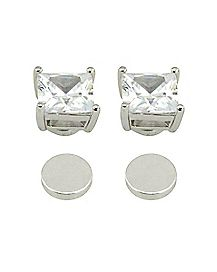 CZ Square Fake Magnetic Earrings