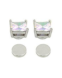 CZ Colored Square Fake Magnetic Earrings
