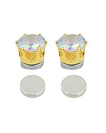Goldtone CZ Round Fake Magnetic Earrings