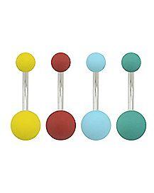 Multi-Pack Colored Matte Belly Rings 4 Pack - 14 Gauge