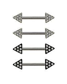 Multi-Pack CZ Triangle Nipple Barbells 2 Pair - 14 Gauge