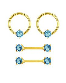 Multi-Pack Goldtone CZ Captive Nipple Rings and Nipple Barbells 2 Pair - 14 Gauge
