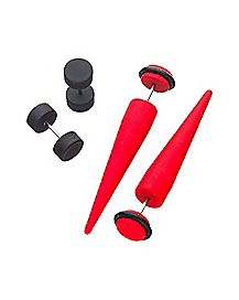 Red and Black Fake Tapers and Fake Plugs 2 Pair - 18 Gauge