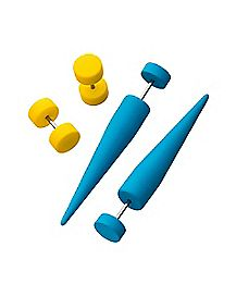 Blue and Yellow Fake Tapers and Plugs 2 Pair - 18 Gauge