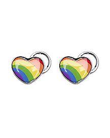Rainbow Heart Magnetic Fake Plugs
