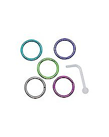 Multi-Pack Colored Hoop Nose Rings and Retainer 6 Pack - 20 Gauge
