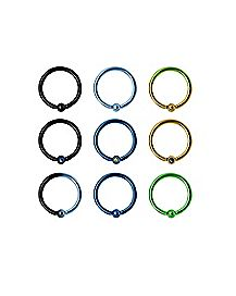 Multi-Pack Colored CZ Hoop Nose Rings 9 Pack - 20 Gauge